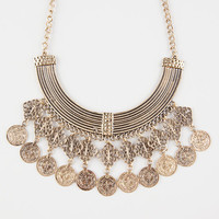 Full Tilt Coin Statement Necklace Antique Gold One Size For Women 27068162301