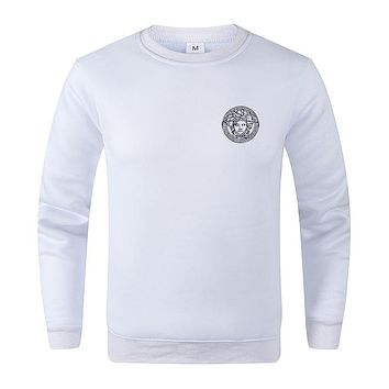 Versace Autumn And Winter New Fashion Bust Side Human Head Print Women Men Long Sleeve Top Sweater White