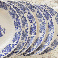 Antique Blue Willow Pattern Bread and Butter or Dessert Plates, Set of 6, Vintage, Cottage Chic, Replacement China