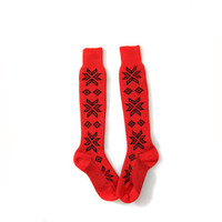 Vintage red wool snowflake tall socks / knee hi red and black socks