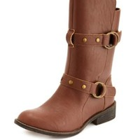 Studded Strap Motorcycle Bootie by Charlotte Russe - Brown