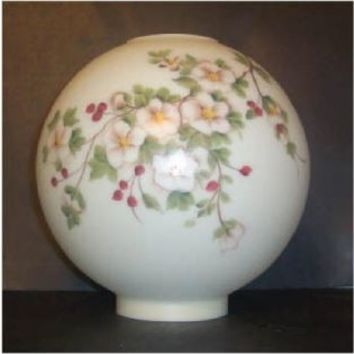 64244 Champagne Floral With Red Berries Gone With The Wind Globe. Ten Inch Ball Glass Lamp Shade