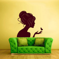 Wall Decal Vinyl Sticker Decor Art Bedroom Design Fashion Beauty Girl Butterfly (z1671)
