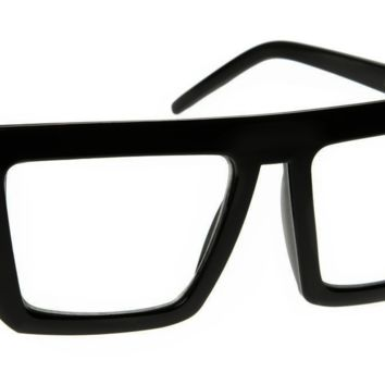 Retro Flat Top Clear Lens Glasses Oliver Bold Rimmed Square Frame