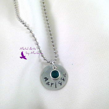 SALE Hand Stamped Name Necklace With Swarovski Crystal Birthstone Personalized Pendant  Hand Stamped Mother's Necklace Childs Name Necklace
