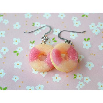 Peach Rings Gummy Hook Dangle Earrings, Polymer Clay Miniature Food Earrings