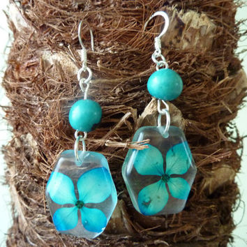 Earrings with real hydrangeas. Turquoise hydrangeas earrings. Resin flower jewelry. Christmas gift for woman.