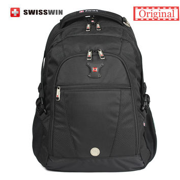 "Swisswin Black Business Backpack Male Swiss Military 15"" Computer Bag Mochila masculino Orthopedic Backpack Back Pack"