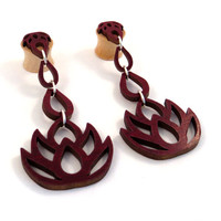 "Dripping Lotus 3-D Dangling Inlay on Maple Wooden Plugs - 0g (8mm) 00g (9mm) (10 mm) 7/16"" (11mm) 1/2"" (13mm) 9/16"" (14mm) 5/8"" Ear Gauges"