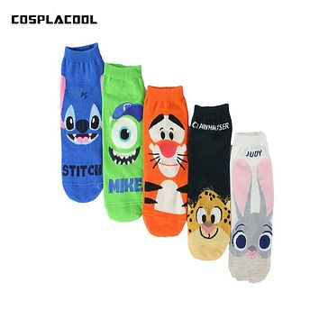 2017 summer hot sell cute cartoon Jumping tiger Stitch characters female socks Cotton straight Ladies jacquard Breathable socks