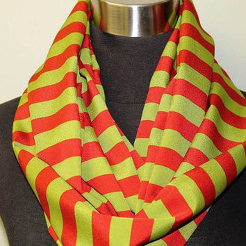 Red, Green Striped Infinity Scarf