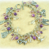Charm Bracelet - Cat Charm Bracelet - Customize your colors - Made to Order with your choice of beads and clasp
