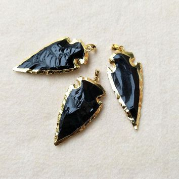 5pcs Large Obsidian Arrow Pendants,with Rhinestone Gold color Rough Arrowheads Gems Stone Charm Jewelry Necklace Making PD265