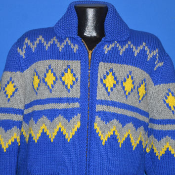 60s Blue Cowichan Wool Zip Up Cardigan Sweater Large