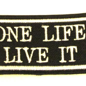 ONE LIFE LIVE IT White on black Iron on Small Badge Patch for Biker Vest SB841