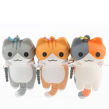 Niconico Nekomura Cat Squishy Ball Chain and Earphone Jack Accessory Version1