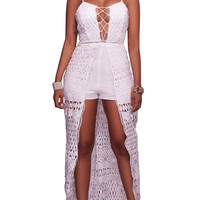 Spaghetti Straps Hollow Out Lace Irregular Jumpsuit