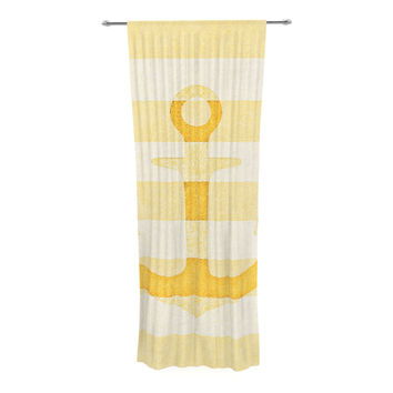 "Monika Strigel ""Stone Vintage Anchor Yellow"" Mustard White Decorative Sheer Curtain"