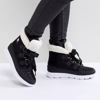 Sorel Explorer Carnival Black Waterproof Flat Boots at asos.com