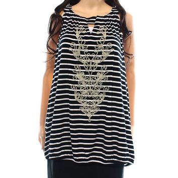 INC NEW Black White Women's Size 3X Plus Striped Embroidered Blouse | Overstock.com Shopping - The Best Deals on Tanks & Tees