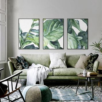 SURE LIFE Modern Tropical Leaf Natural Poster Canvas Paintings Wall Art Prints POP Nordic Pictures Living Room Home Decorations
