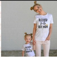 Family matching outfits Mom Mommy and me clothes Letter Short sleeved T-shirt Mother d