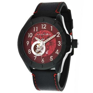 Android AD469BKR Men's Espionage Black Ion Plated Open Heart Brown Skeleton Dial Watch