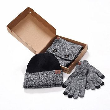 Men Women Knitted Warm Beanie Scarf And Touch-screen Gloves Set Winter Three-piece Accessories