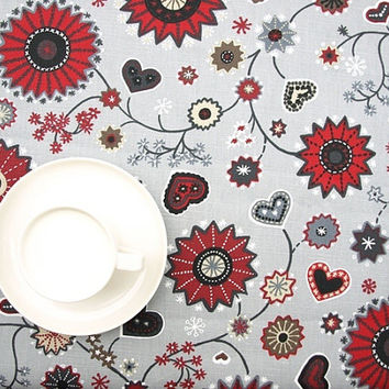 Christmas Tablecloth beige grey red Christmas Flower and Hearts decor , napkins , table runner , curtains , pillows available, great GIFT