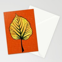 Yellow Linden Leaf On Orange Botanical Art Stationery Cards by borianagiormova