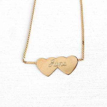 Vintage Children's Necklace - Modern Estate June 12k Rosy Yellow Gold Filled Heart Shaped Necklace Pendant - 1980s Newborn Charm Jewelry