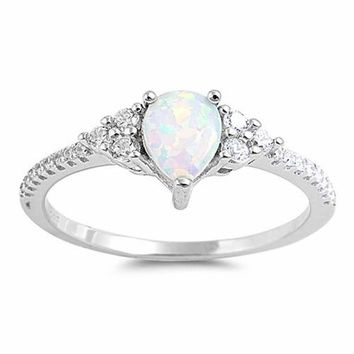 Sterling Silver White Opal Teardrop CZ Accented Ring