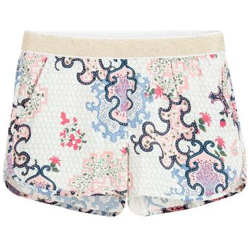 Zadig & Voltaire Girls Ivory Shorts with Colorful Print