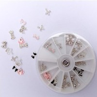 350buy 350buy 24pcs 12 Different Shapes styles 3D Clear Alloy Rhinestones Bow Tie Cross Buttefly Crow Apple Nail Art DIY Decorations+Wheel