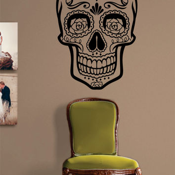 Sugar Skull Version 6 Decal Sticker Wall Vinyl Day of the Dead