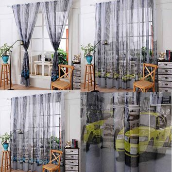 Car Print Tulle Door Window Curtain Drape Panel Sheer Scarf  Valances curtains for bedroom