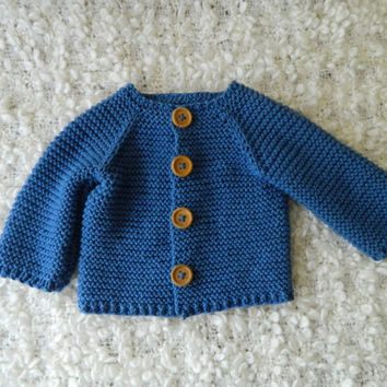 Knit  Baby Boy Blue Sweater/Cardigan Bamboo And Cotton Yarn With Wooden Buttons Raglan Style