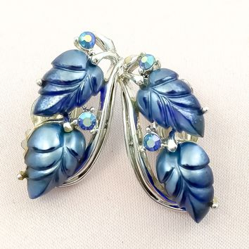 Vintage Earrings  - Blue Earrings  - Signed Star  - Circa 1950  - Clip on  - Gift for her  - Mom Gift  - Girlfriend Gift  - Mothers Day Gift
