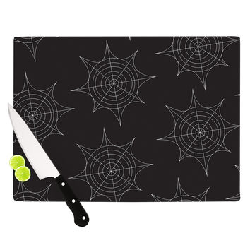 "KESS Original ""Spiderwebs - Black"" Cutting Board"