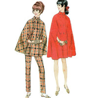 Retro 60s McCall's Sewing Pattern 9028 Misses Cape Poncho Raincoat Shawl Double Breasted Plus Size 16 Bust 36