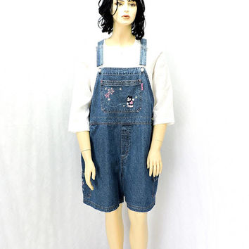 Mickey overalls / size 2x / plus size / 20 / 22 / vintage 80s Mickey Unlimited Disney Jerry Leigh / Mickey Mouse denim bib overall shorts