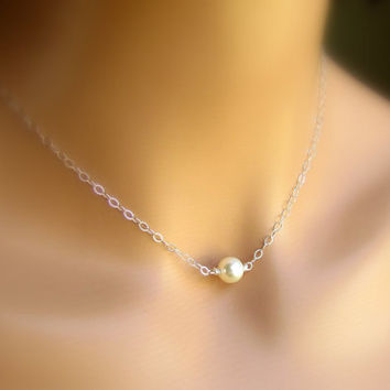Solitaire Cream Pearl Necklace, Single Swarovski Pearl Pendant, Sterling Silver Handmade Wedding Jewelry
