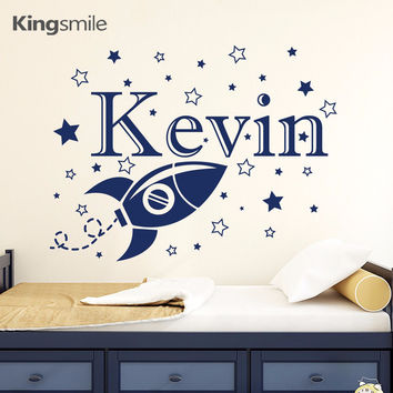 Rocket Space Cartoon Vinyl Personalized Name Wall Decals Nursery Baby Boy Room Home Window Decor Wall Stickers for Kids Rooms