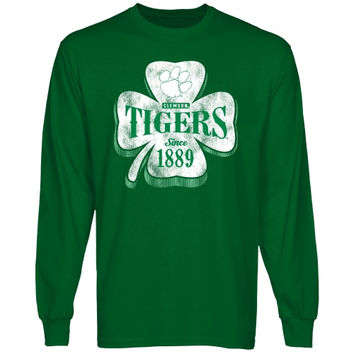 Clemson Tigers Four Leaf Seal Long Sleeve T-Shirt - Green