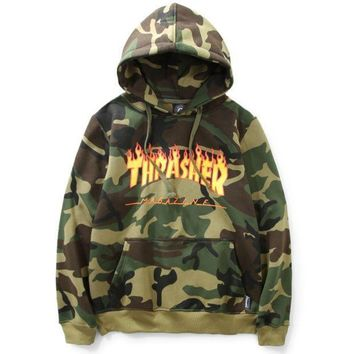 Thrasher Flame Printing Camouflage Men And Women Plus Velvet Hood Hooded Sweater