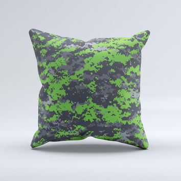 Lime Green and Gray Digital Camouflage  Ink-Fuzed Decorative Throw Pillow