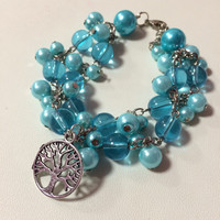 Tree of Life charm Turquoise Faux Pearl Glass beaded bracelet: gifts, Tree lovers, Tree bracelet