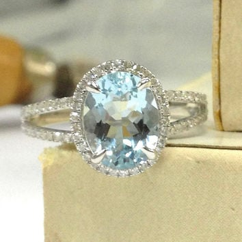 Aquamarine Engagement Ring 14K White Gold!Diamond Wedding Bridal Ring,Claw Prongs,7x9mm Oval Cut Blue Aquamarine,Halo Ring,Can Match Band