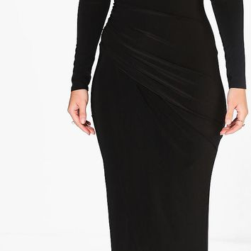 Anoush Plunge Rouched Detail Maxi Dress | Boohoo