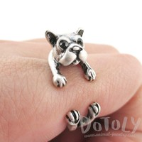Boston Terrier Puppy Shaped Animal Wrap Ring in Silver | US Size 5 to 8